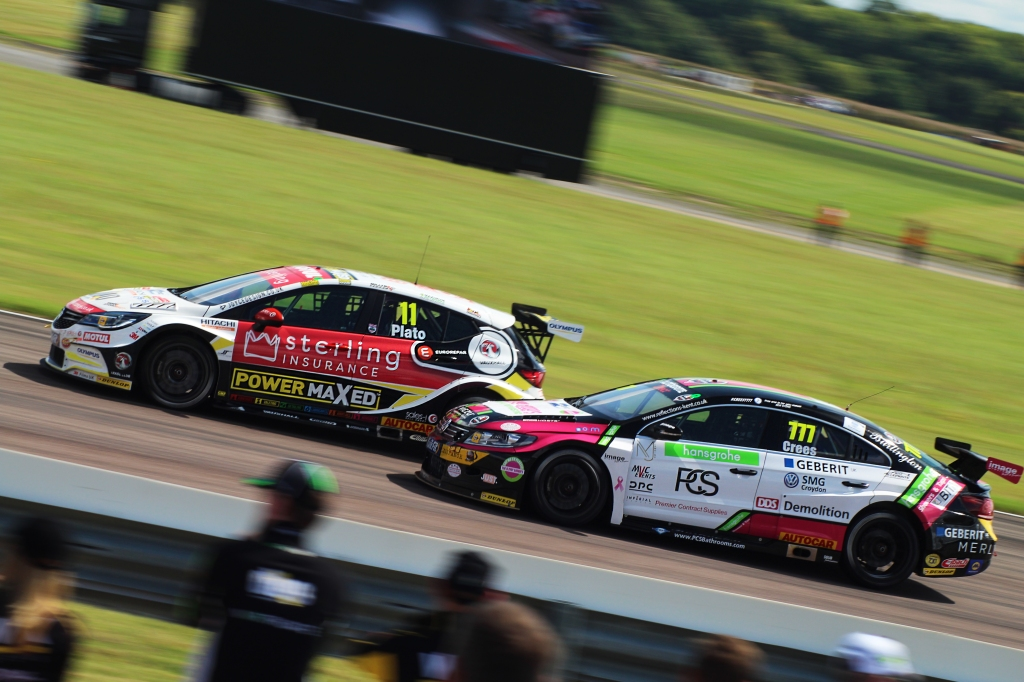 BTCC Veteran Jason Plato fends off Michael Crees into Campbell corner.